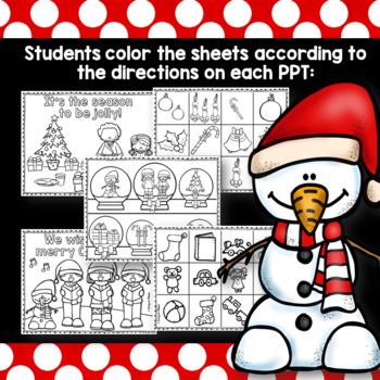 Christmas Following Directions Read and Color PowerPoint Bundle