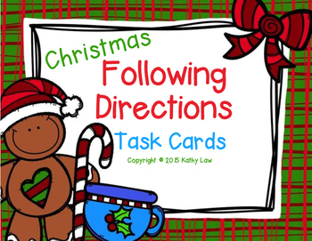 Christmas Following Directions Task Cards