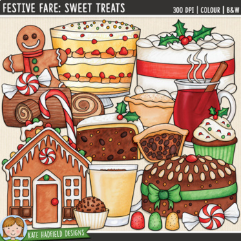 "Christmas Food Clip Art: ""Festive Fare: Sweet Treats"""