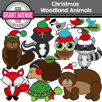 Christmas Woodland Animals Clipart - Forest Animals Clipart