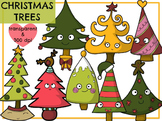 Colorful Christmas Trees (Digital Clip Art)