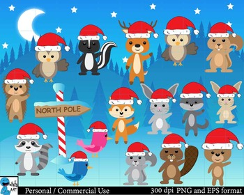 Christmas Forest animals Digital Clip Art Graphics 48 images cod60