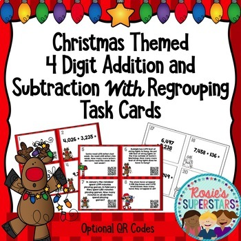 Christmas Four Digit Addition and Subtraction with Regrouping Task Cards