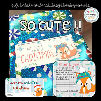 Christmas Fox labels and matching thank you EDITABLE