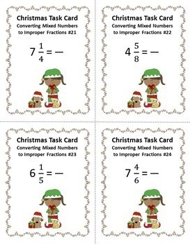 Christmas Fraction Bundle - Task Cards and PowerPoint Games