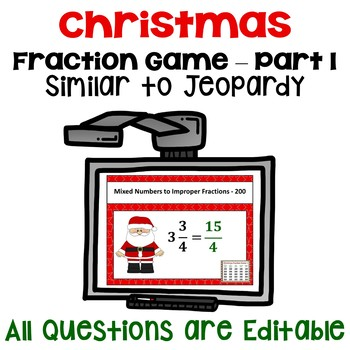 Christmas Fraction Game Part 1 - Similar to Jeopardy