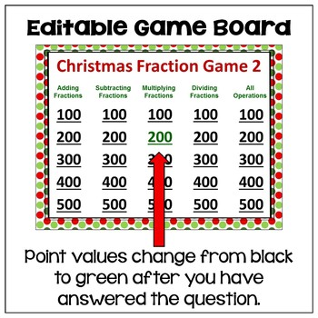 Christmas Fraction Game Part 2 - Similar to Jeopardy
