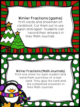 Christmas Fraction Task Cards