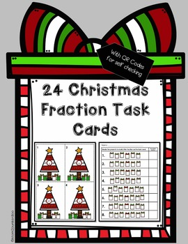 Holiday Fraction Task Cards With QR Codes
