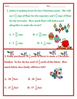 4th Grade Christmas Fractions