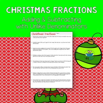 Christmas Fraction Word Problems