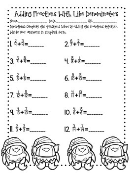 Christmas Fractions: Adding and Subtracting Fraction Practice