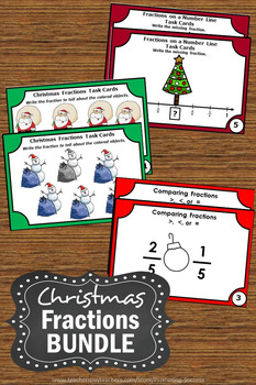 Christmas Fractions BUNDLE, 3rd Grade Christmas Math Centers - 90 Task Cards