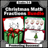 Christmas Math Bundle, 3rd Grade Fractions on a Number Line Task Cards