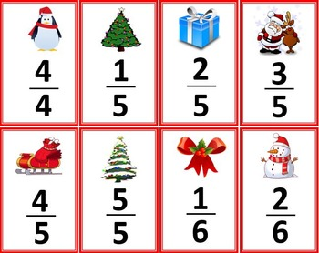 Christmas Fractions Card Game