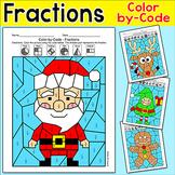 Fractions Coloring Pages Christmas Math Activity - Santa, Gingerbread Man, Elf