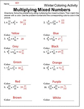 Multiplying Fractions {Winter Math Worksheet} {Fractions Review}