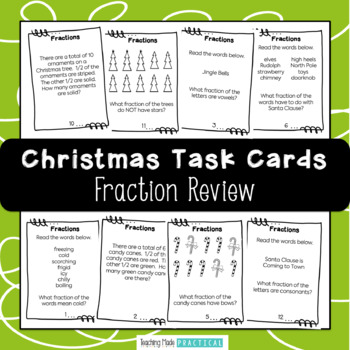 Fractions - Christmas Math Review using 20 Fraction Task Cards