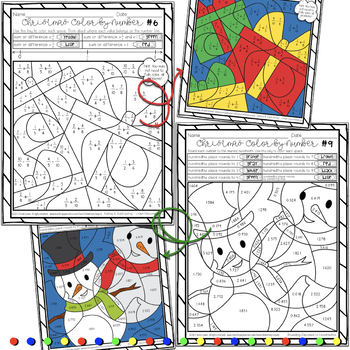 Christmas Fractions and Decimals Color by Number Activity Sheets