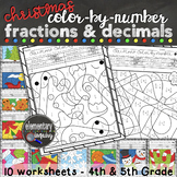 Christmas Fractions and Decimals Math Activity Color by Number Worksheets