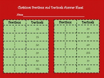Christmas Fractions and Decimals match