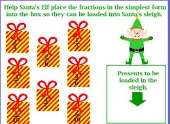 Christmas Fractions for Intermediate Grade