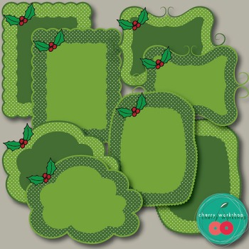 Christmas Frames - Holly Details - Christmas Clip Art {Commercial Use}