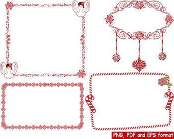 Christmas Frames frame Background clip art red black snow Damask Geometric -165-