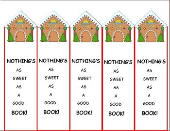 Holiday Activities Bookmarks, Gingerbread House Freebie