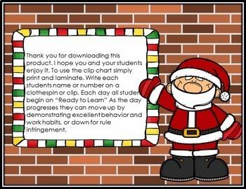 December Behavior Clip Chart - Santa Theme