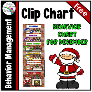December Behavior Clip Chart - Santa Theme