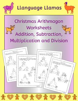 Free Christmas Math Arithmagon worksheets