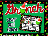 Grinch Day Nonsense Word Fluency RTI Blackout Bingo (Read and Green Theme)
