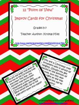 Christmas Freebie: 12 Point of View Improv Cards For Christmas (Grades 5-7)