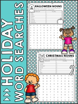 Holiday Themed Singular and Plural Nouns Word Search
