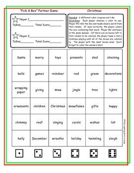 Christmas ~ Freebie ~ Partner Word Game ~ Pick-A-Box ~ Literacy Center