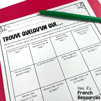 French Christmas speaking and writing activities / activités de Noël