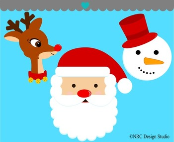Christmas reindeer santa snowman clipart commercial use
