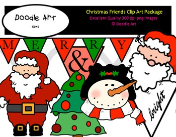 Christmas Friends Clipart Pack