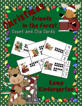 Christmas Friends in the Forest Count and Clip Cards (Quantities to 20)