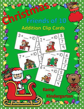 Christmas Friends of 10 Addition Clip Cards
