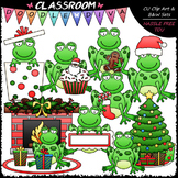 Christmas Frogs - Clip Art & B&W Set