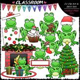 Christmas Frogs - Clip Art & B&W Set