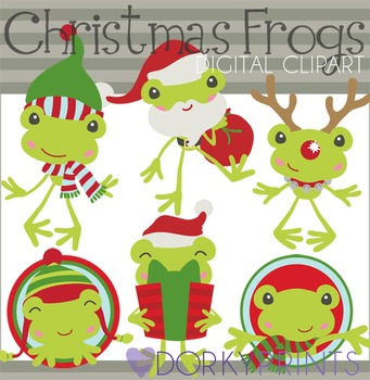 Christmas Frogs Holiday Digital Clip Art