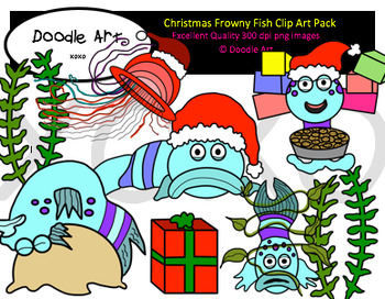 Christmas Frowny Fish Clipart Pack
