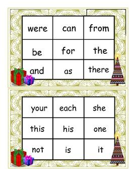 Christmas Fry 1-50 Sight Words Bingo Game