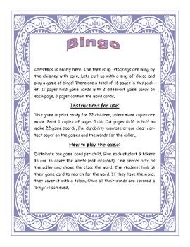 Christmas Fry Sight Words 101-150 Bingo Game