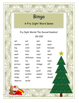 Christmas Fry Sight Words 151-200 Bingo Game