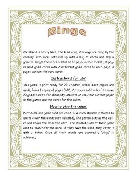 Christmas Fry Words 251-300 Bingo Game