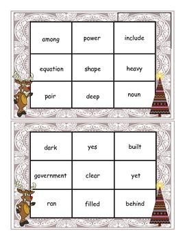 Christmas Fry Words 451-500 Bingo Game